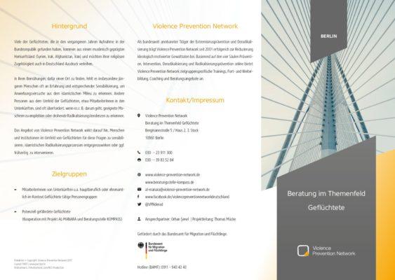 Flyer Beratung im Themenfeld Geflüchtete in Berlin