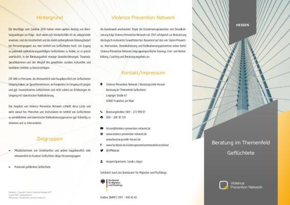 Flyer Beratung im Themenfeld Geflüchtete in Hessen