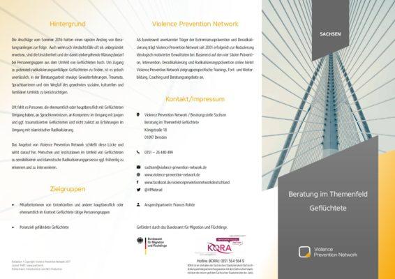 Flyer Beratung im Themenfeld Geflüchtete in Sachsen