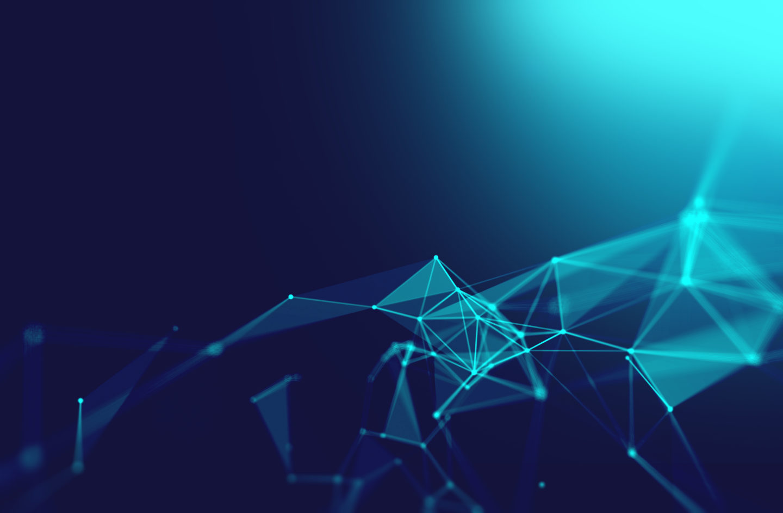 Blaue Punkte und Linien schließen sich zu Netzwerk zusammen