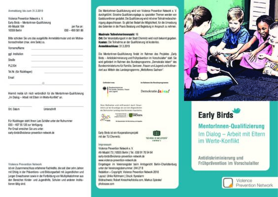 Flyer – Early Birds MentorInnenqualifizierung 2019