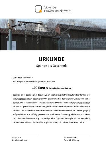 Geschenk-Urkunde - Deradikalisierung in Haft