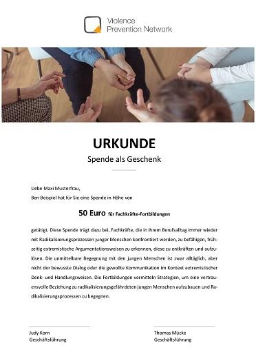 Geschenk-Urkunde - Fachkräfte-Fortbildungen