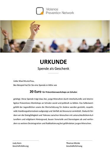 Geschenk-Urkunde - Präventionsworkshops an Schulen