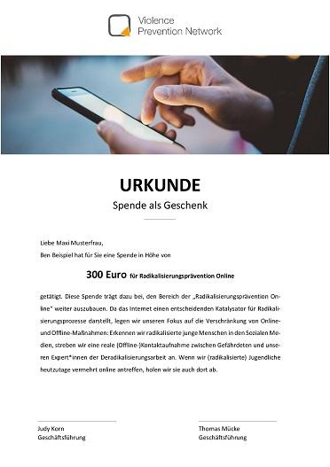 Geschenk-Urkunde - Radikalisierungsprävention Online