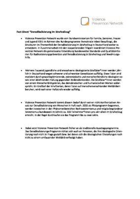 """Fact Sheet """"Deradikalisierung im Strafvollzug"""""""
