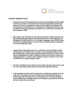 """Fact Sheet """"Rückkehrer*innen"""""""