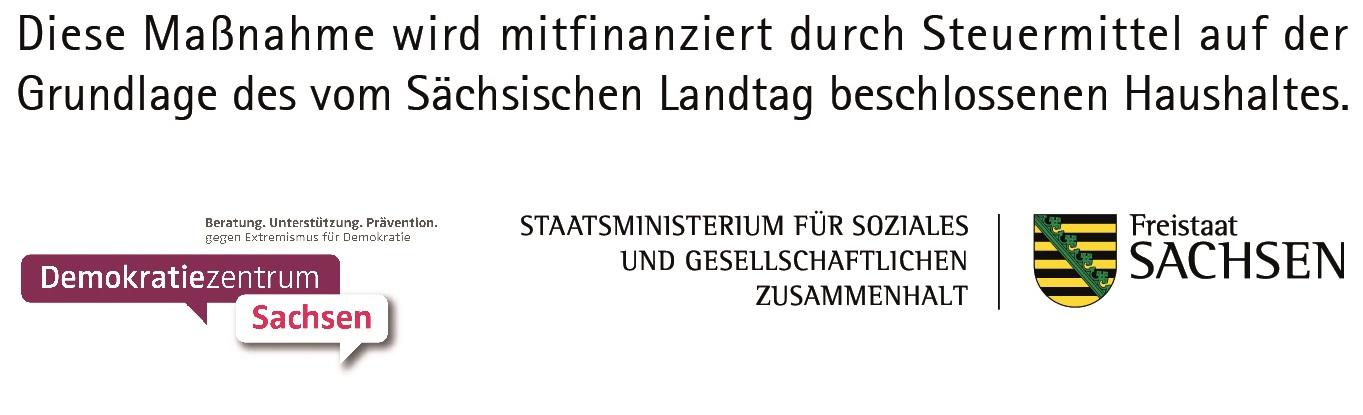 Sächsisches Staatsministerium für Soziales und Gesellschaftlichen Zusammenhalt und das Demokratiezentrum Logo